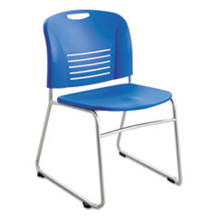 Vy Series Stack Chairs, Plastic Back/Seat, Sled Base, Blue, 2/Carton