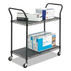 Wire Utility Cart, Two-Shelf, 43.75w x 19.25d x 40.5h, Black