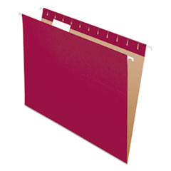 Colored Hanging Folders, Letter Size, 1/5-Cut Tab, Burgundy, 25/Box