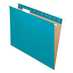 Colored Hanging Folders, Letter Size, 1/5-Cut Tab, Teal, 25/Box