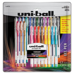 Stick Gel Pen, 17 Micro; 7 Med, Assorted Ink, Clear Barrel, 24/Set