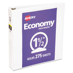 """Economy View Binder with Round Rings , 3 Rings, 1.5"""" Capacity, 11 x 8.5, White, (5726)"""