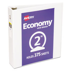 """Economy View Binder with Round Rings , 3 Rings, 2"""" Capacity, 11 x 8.5, White"""