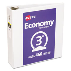 "Economy View Binder with Round Rings , 3 Rings, 3"" Capacity, 11 x 8.5, White"
