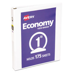 """Economy View Binder with Round Rings , 3 Rings, 1"""" Capacity, 11 x 8.5, White"""
