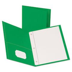 "Leatherette Two Pocket Portfolio with Fasteners, 8 1/2"" x 11"", Green, 10/PK"