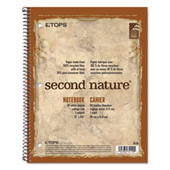 Second Nature Single Subject Wirebound Notebooks, 1 Subject, Medium/College Rule, Tan/Brown Cover, 11 x 8.5, 50 Pages