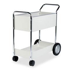 Steel Mail Cart, 150-Folder Capacity, 20w x 40.5d x 39h, Dove Gray