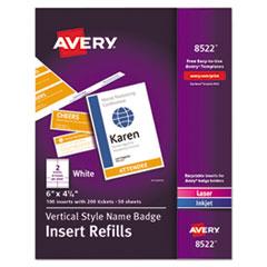 Name Badge Insert Refills, Vertical, 4 1/4 x 6, White, 100/Pack