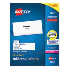 Easy Peel White Address Labels w/ Sure Feed Technology, Laser Printers, 1.33 x 4, White, 14/Sheet, 250 Sheets/Box
