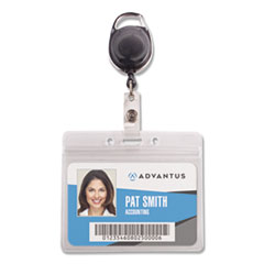 Resealable ID Badge Holder, Cord Reel, Horizontal, 3.75 x 4.13, Clear, 10/Pack