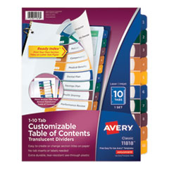 Customizable Table of Contents Ready Index Dividers with Multicolor Tabs, 10-Tab, 1 to 10, 11 x 8.5, Translucent, 1 Set