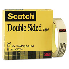"""665 Double-Sided Office Tape, 3/4"""" x 36 yards, 3"""" Core, Clear"""