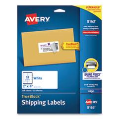 Shipping Labels w/ TrueBlock Technology, Inkjet Printers, 2 x 4, White, 10/Sheet, 25 Sheets/Pack