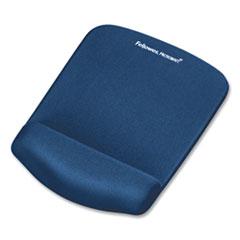 PlushTouch Mouse Pad with Wrist Rest, Foam, Blue, 7 1/4 x 9-3/8