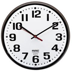 "6645010468849, Slimline Quartz Wall Clock, 12 3/4"", White Face, Brown"