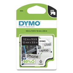 """D1 Flexible Nylon Label Maker Tape, 0.5"""" x 11.5 ft, Black on White"""