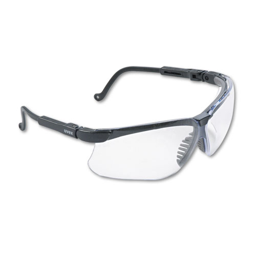 Genesis Wraparound Safety Glasses, Black Plastic Frame, Clear Lens