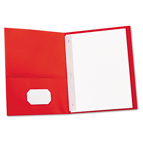 TWO-POCKET PORTFOLIOS WITH TANG FASTENERS, 11 X 8 1/2, RED, 25/BOX