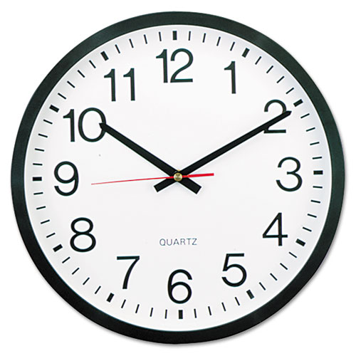Image for CLASSIC ROUND WALL CLOCK, 12.63' OVERALL DIAMETER, BLACK CASE, 1 AA (SOLD SEPARATELY)