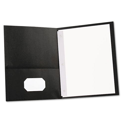 TWO-POCKET PORTFOLIOS WITH TANG FASTENERS, 11 X 8 1/2, BLACK, 25/BOX