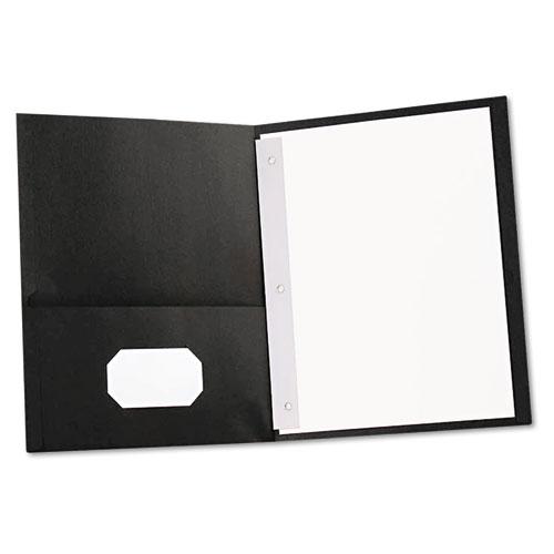 TWO-POCKET PORTFOLIOS WITH TANG FASTENERS, 11 X 8 1/2, BLACK, 25/BOX