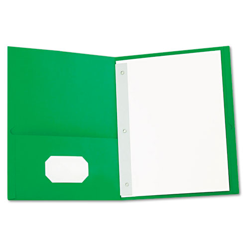 TWO-POCKET PORTFOLIOS WITH TANG FASTENERS, 11 X 8 1/2, GREEN, 25/BOX