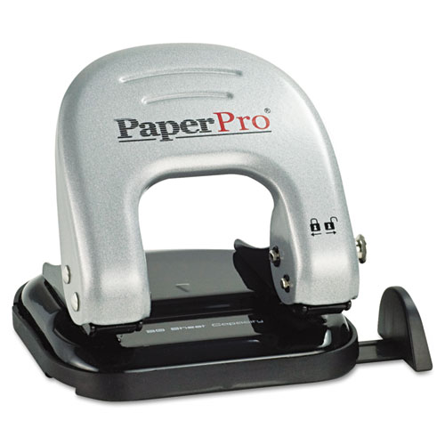 EZ SQUEEZE TWO-HOLE PUNCH, 20-SHEET CAPACITY, BLACK/SILVER