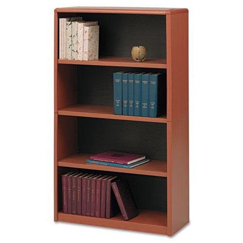 Value Mate Series Metal Bookcase, Four-Shelf, 31-3/4w X 13-1/2d X 54h, Cherry