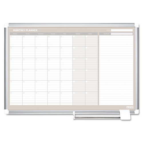 Monthly Planner, 48x36, Silver Frame