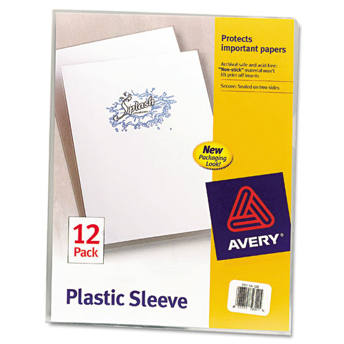 CLEAR PLASTIC SLEEVES, LETTER SIZE, CLEAR, 12/PACK