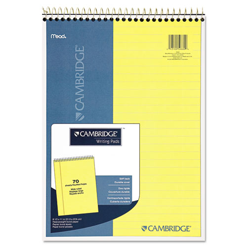 STIFF-BACK WIRE BOUND NOTEBOOK, 1 SUBJECT, WIDE/LEGAL RULE, CANARY/BLUE COVER, 8.5 X 11.5, 70 SHEETS