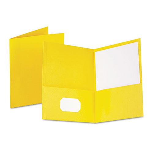 Twin-Pocket Folder, Embossed Leather Grain Paper, Yellow, 25/box