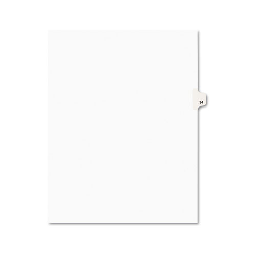 PREPRINTED LEGAL EXHIBIT SIDE TAB INDEX DIVIDERS, AVERY STYLE, 10-TAB, 34, 11 X 8.5, WHITE, 25/PACK