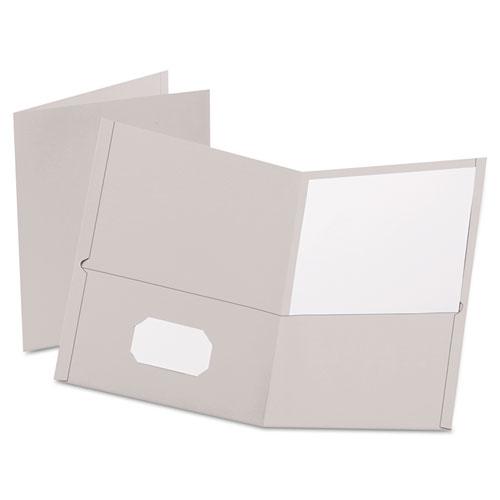 Twin-Pocket Folder, Embossed Leather Grain Paper, Gray, 25/box