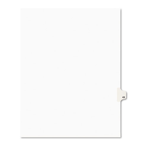 PREPRINTED LEGAL EXHIBIT SIDE TAB INDEX DIVIDERS, AVERY STYLE, 10-TAB, 43, 11 X 8.5, WHITE, 25/PACK
