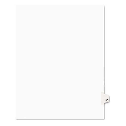 PREPRINTED LEGAL EXHIBIT SIDE TAB INDEX DIVIDERS, AVERY STYLE, 10-TAB, 47, 11 X 8.5, WHITE, 25/PACK, (1047)