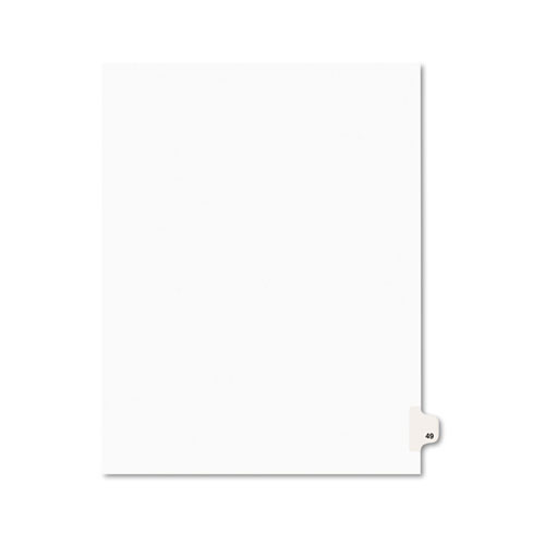 PREPRINTED LEGAL EXHIBIT SIDE TAB INDEX DIVIDERS, AVERY STYLE, 10-TAB, 49, 11 X 8.5, WHITE, 25/PACK