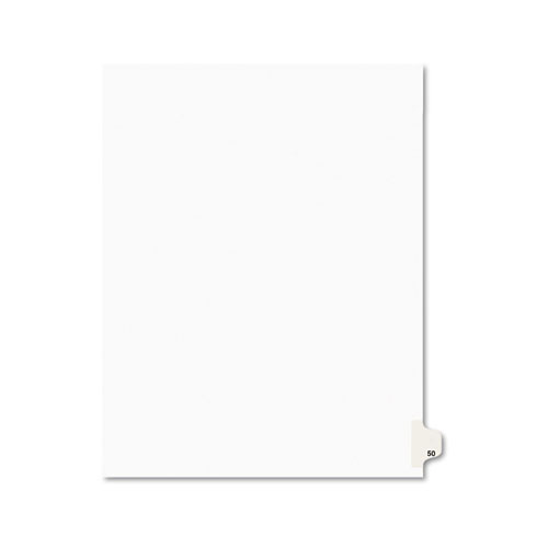 PREPRINTED LEGAL EXHIBIT SIDE TAB INDEX DIVIDERS, AVERY STYLE, 10-TAB, 50, 11 X 8.5, WHITE, 25/PACK