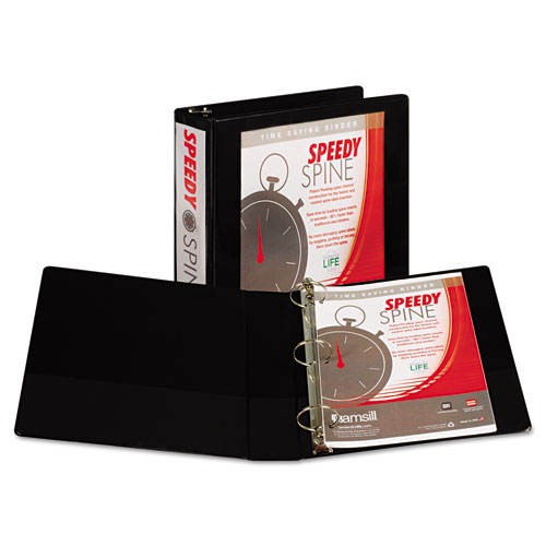 SPEEDY SPINE HEAVY-DUTY TIME SAVING ROUND RING VIEW BINDER, 3 RINGS, 2