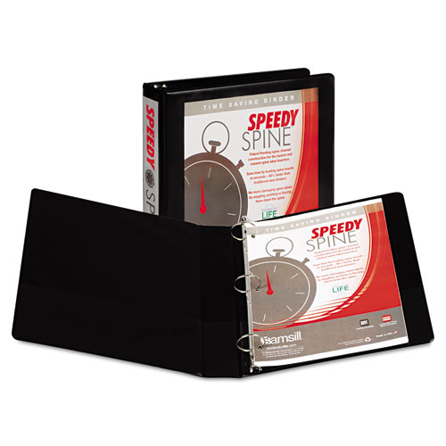 SPEEDY SPINE HEAVY-DUTY TIME SAVING ROUND RING VIEW BINDER, 3 RINGS, 1.5