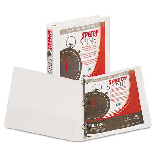SPEEDY SPINE HEAVY-DUTY TIME SAVING ROUND RING VIEW BINDER, 3 RINGS, 1