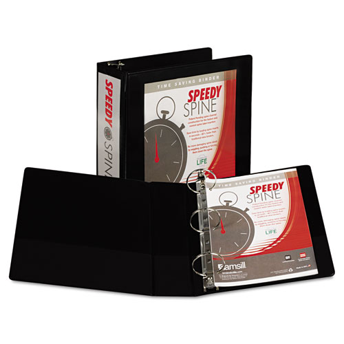 SPEEDY SPINE HEAVY-DUTY TIME SAVING ROUND RING VIEW BINDER, 3 RINGS, 3