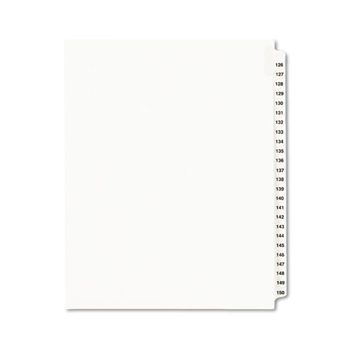 PREPRINTED LEGAL EXHIBIT SIDE TAB INDEX DIVIDERS, AVERY STYLE, 25-TAB, 126 TO 150, 11 X 8.5, WHITE, 1 SET