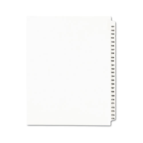 PREPRINTED LEGAL EXHIBIT SIDE TAB INDEX DIVIDERS, AVERY STYLE, 25-TAB, 151 TO 175, 11 X 8.5, WHITE, 1 SET