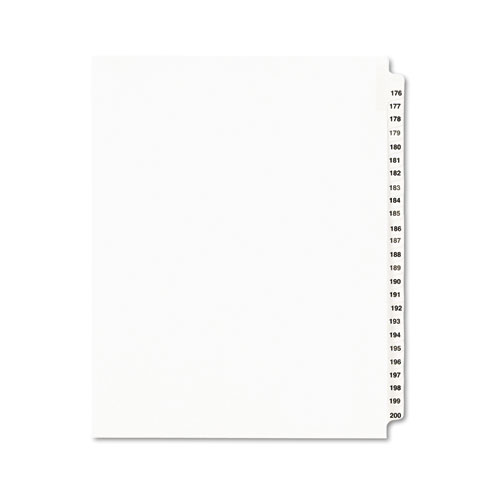 PREPRINTED LEGAL EXHIBIT SIDE TAB INDEX DIVIDERS, AVERY STYLE, 25-TAB, 176 TO 200, 11 X 8.5, WHITE, 1 SET