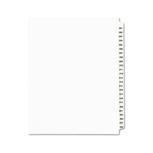 PREPRINTED LEGAL EXHIBIT SIDE TAB INDEX DIVIDERS, AVERY STYLE, 25-TAB, 201 TO 225, 11 X 8.5, WHITE, 1 SET, (1338)