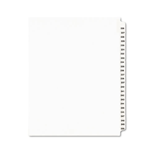 PREPRINTED LEGAL EXHIBIT SIDE TAB INDEX DIVIDERS, AVERY STYLE, 25-TAB, 226 TO 250, 11 X 8.5, WHITE, 1 SET