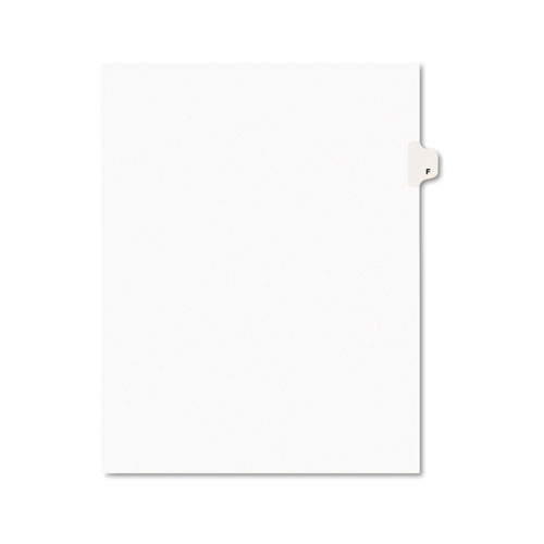 PREPRINTED LEGAL EXHIBIT SIDE TAB INDEX DIVIDERS, AVERY STYLE, 26-TAB, F, 11 X 8.5, WHITE, 25/PACK