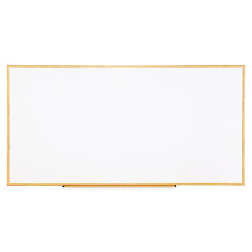 Dry-Erase Board, Melamine, 96 X 48, White, Oak-Finished Frame